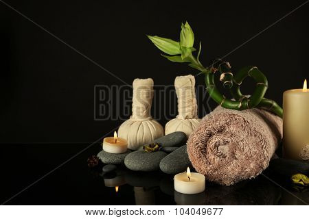 Set for spa procedures on black background