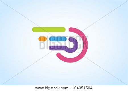 Fast line circle logo vector icon