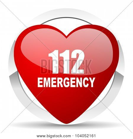 number emergency 112 red red heart valentine icon on white background
