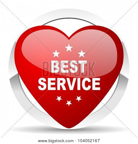 best service red red heart valentine icon on white background