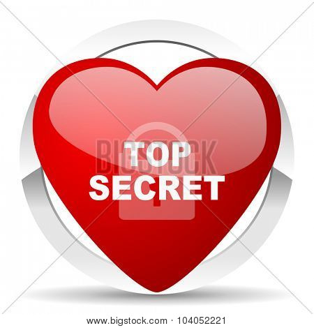 top seret red red heart valentine icon on white background
