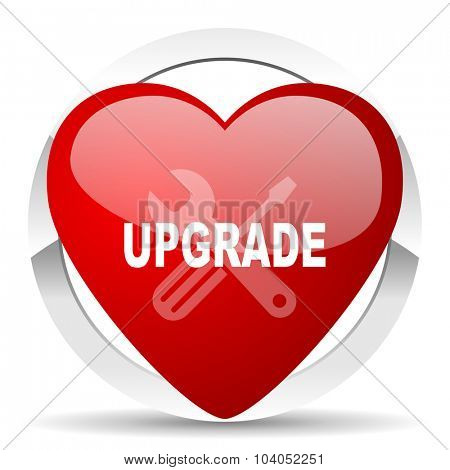 upgrade red red heart valentine icon on white background