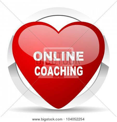 online coaching red red heart valentine icon on white background