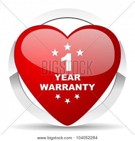 warranty guarantee 1 year red red heart valentine icon on white background