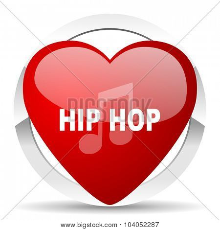 hip hop red red heart valentine icon on white background