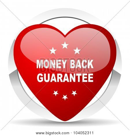 money back guarantee red red heart valentine icon on white background