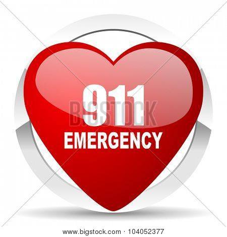 number emergency 911 red red heart valentine icon on white background