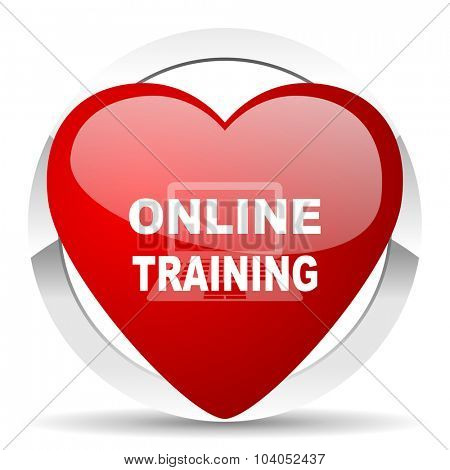 online training red red heart valentine icon on white background