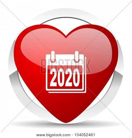 new year 2020 red red heart valentine icon on white background