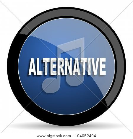 alternative music blue circle glossy web icon on white background, round button for internet and mobile app