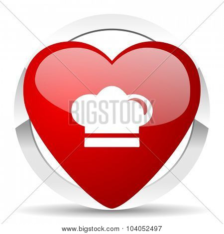 cook red red heart valentine icon on white background