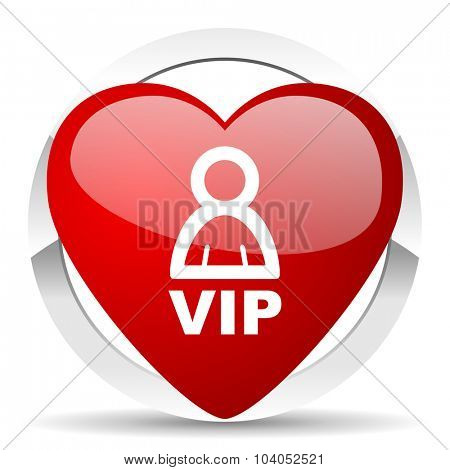 vip red red heart valentine icon on white background