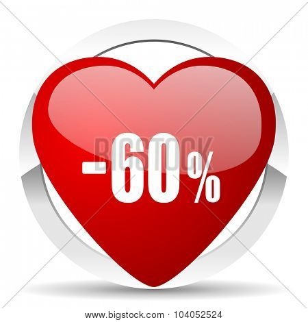 60 percent sale retail red red heart valentine icon on white background
