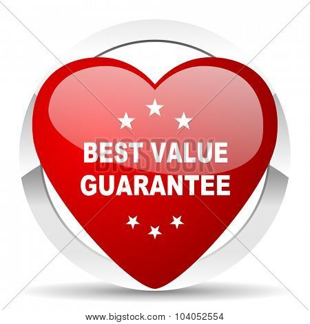 best value guarantee red red heart valentine icon on white background