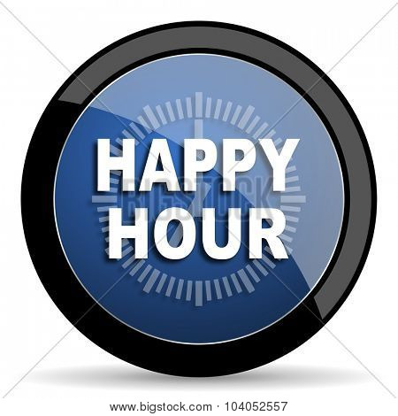 happy hour blue circle glossy web icon on white background, round button for internet and mobile app
