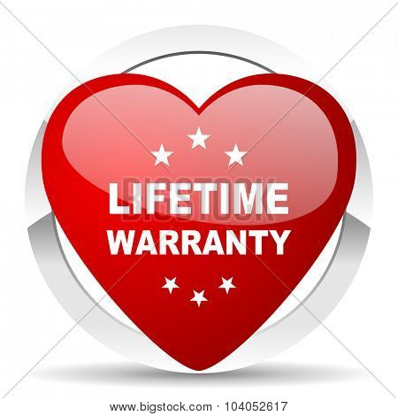 lifetime warranty red red heart valentine icon on white background