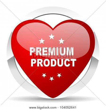 premium product red red heart valentine icon on white background