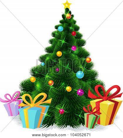 Christmas Tree Isolated - Vector Illustration