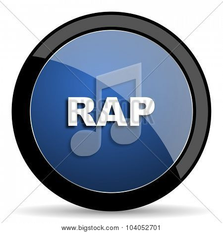 rap music blue circle glossy web icon on white background, round button for internet and mobile app
