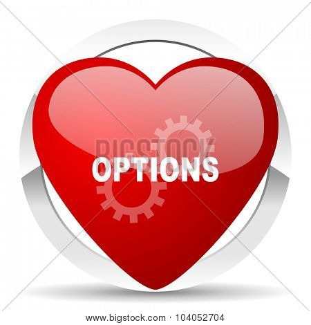 options red red heart valentine icon on white background