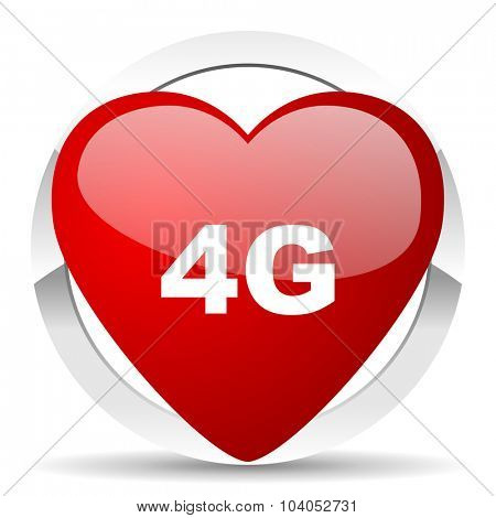 4g red red heart valentine icon on white background