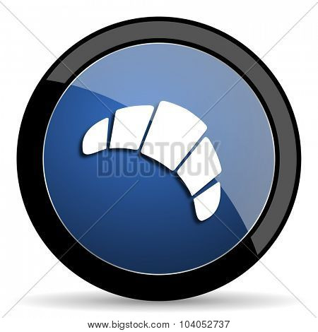 croissant blue circle glossy web icon on white background, round button for internet and mobile app