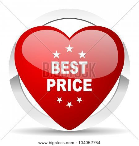 best price red red heart valentine icon on white background
