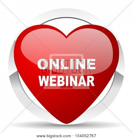 online webinar red red heart valentine icon on white background