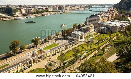 BUDAPEST, HUNGARY - CIRCA SEP, 2015: The Danube Promenade. Pest panorama of the Danube - UNESCO world heritage site.