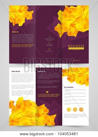 Creative professional Trifold Brochure, Template or Flyer design with front and inner page presentation for your Business.