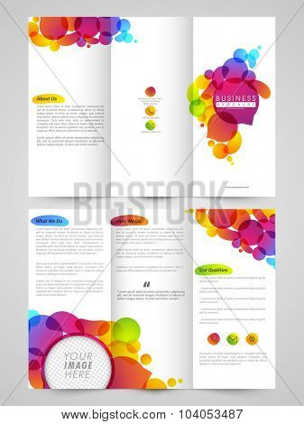 Glossy professional Trifold Brochure, Template or Flyer design with front and back page presentation.