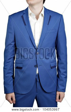 Mens Casual Suit Of Cyan Color Trousers And Blazer, Isolated On White.
