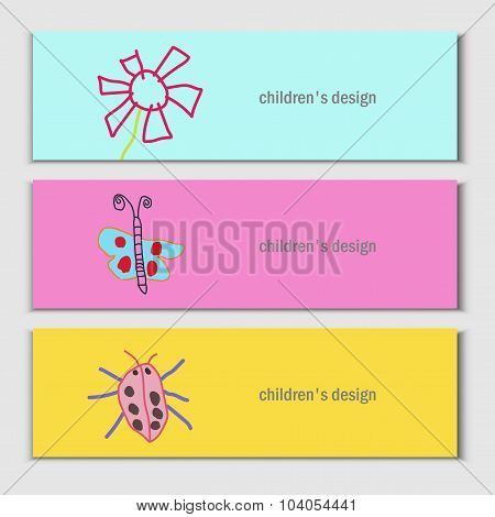 Flower, butterfly, ladybug. Beautiful vector children drawings