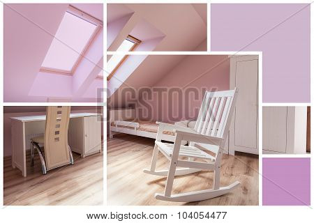 Rose And White Bedroom Interior