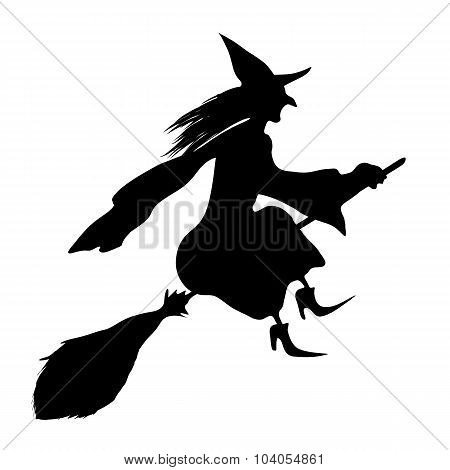 Witch On A Broomstick. Black Silhouette.