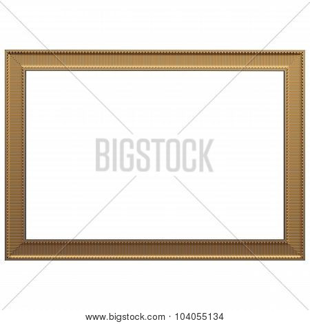 Gold Frame. Isolated Over White Background