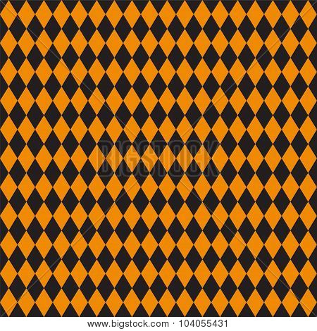 Seamless Texture Of Rhombuses. Black And Orange Colors.