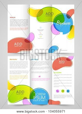 Front and back page view of Business Trifold Brochure, Template or Flyer design with colorful space for your images.