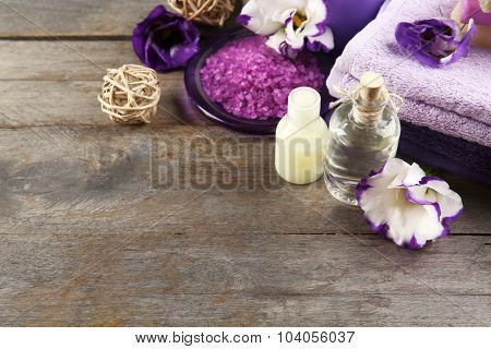 Spa still life with purple flowers