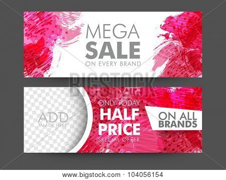 Creative abstract design decorated, Mega Sale website header or banner set with space to add image.