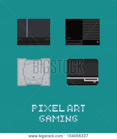 Pixel art vector illustraion retro video game console icon set