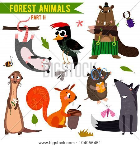 Vector Set Of Cute Woodland And Forest Animals. Part Ii: Opossum, Beaver, Wolf,mole, Squirrel, Woodp