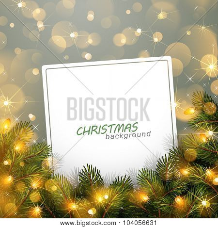 Christmas light with fir branches and bokeh effect. Vector illustration