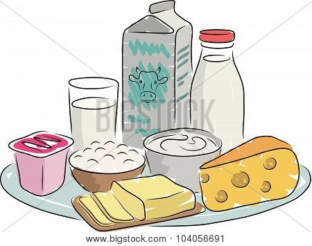 Milk products on plate, vector illustration