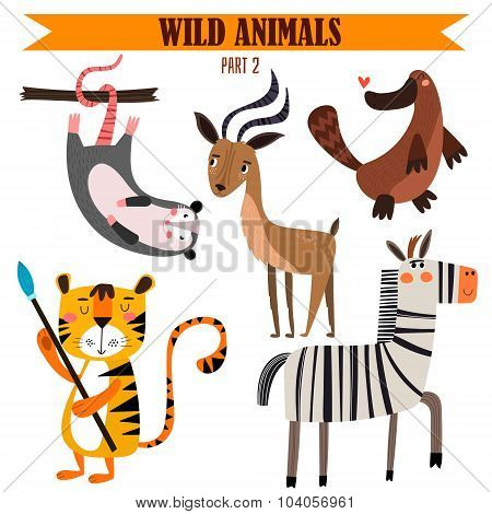Vector Set-wild Animals In Cartoon Style. Part 2: Opossum, Impala, Platypus, Tiger, Zebra.bright Chi
