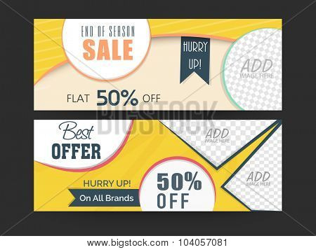 End of Season Sale website header or banner set with best offer of 50% and space for your image.