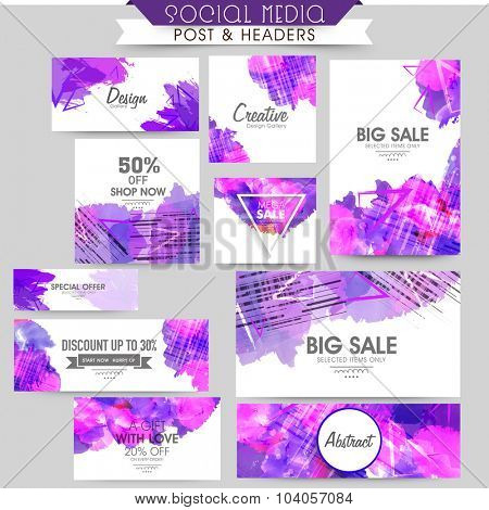 Creative abstract social media post, header or banner set of Sale with discount offer.