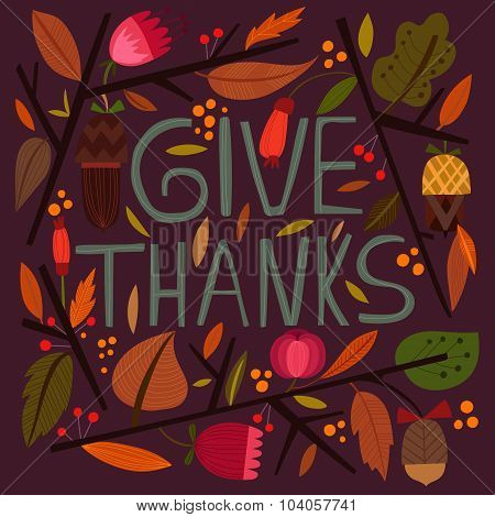 Happy Thanksgiving Day Card In Bright Summer Colors.lovely Autumn Concept Design In Vector.