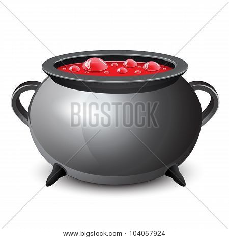 Halloween Witch's Cauldron With Red Bubbling Witch's