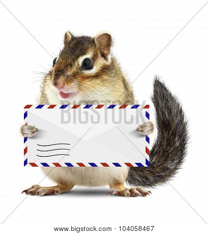 Funny Postman Squirrel Hold Mail Letter Isolated On White
